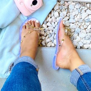Studded Bow Nude Glitter Jelly Thong Sandals